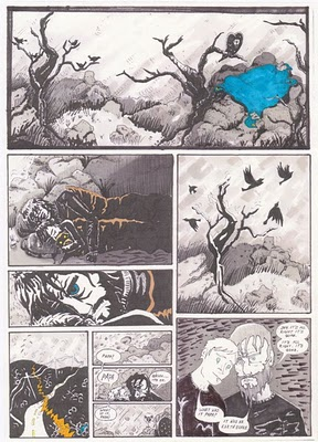 Karen Browett – The Road -part of a project drawing a page of comics from a page of film script