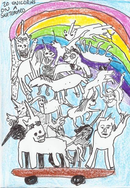 20 unicorns on a skateboard